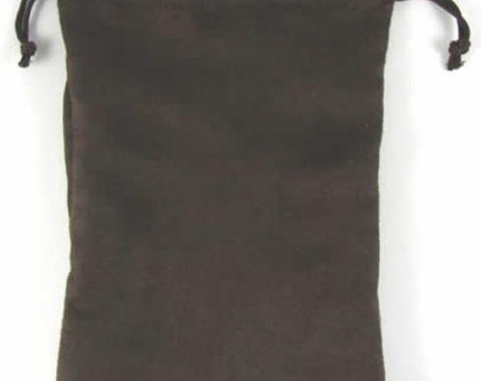 Dice Bags: Micro Suede Dice Bag - Brown (6in x 9in)
