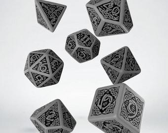 Q-Workshop Celtic Dice: Gray & Black Celtic 3D Revised Dice Set (7) - Purchasing Collective