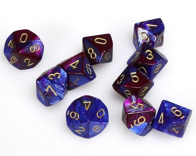 10d10 Gemini: Blue-Purple/Gold - CHX26228 - Chessex