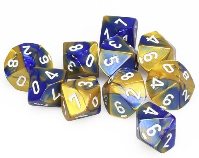10d10 Gemini: Blue-Gold/White - CHX26222 - Chessex