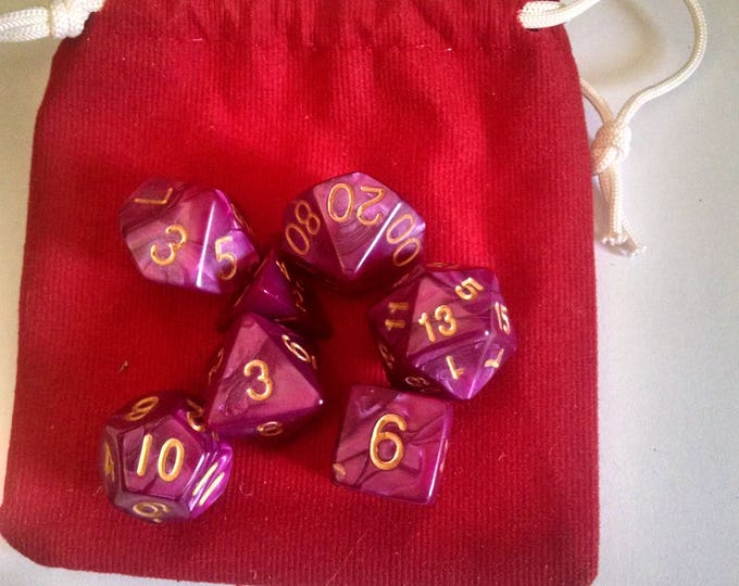 Royal Purple - 7 Die Polyhedral Set with Pouch