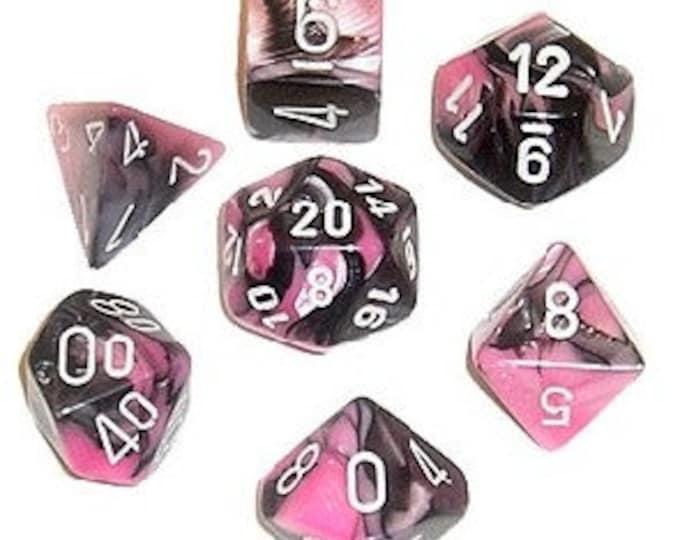 7-Die Set Gemini: Black-Pink/White - CHX26430 - Chessex