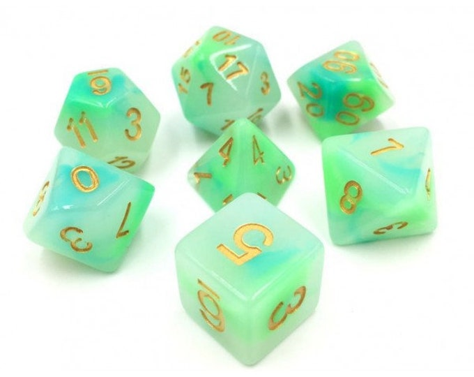 HDDice 7 Die Polyhedral Opalescent Dice Set (Blue and Green) - Purchasing Cooperative