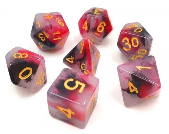 HDDice 7 Die Polyhedral Opalescent Dice Set (Black and Red) - Purchasing Cooperative