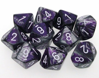 10d10 Gemini: Purple-Steel/White - CHX26232 - Chessex