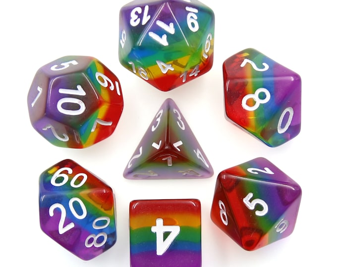 HDDice 7 Die Polyhedral Layered Dice Set (Transparent Rainbow) - Purchasing Cooperative