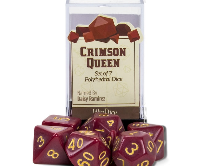 WizDice 7 Die Polyhedral Set in Velvet Pouch-Crimson Queen - Purchasing Cooperative