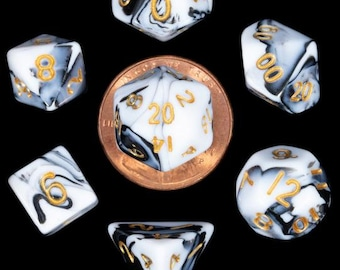 Metallic Dice Games 7 Die Polyhedral Mini Dice Set (Marble/Gold) - Purchasing Cooperative