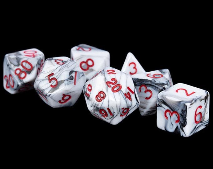 7-Die Set Marble: Marble/Red - MTD1031 - Metallic Dice Games