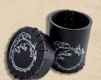 Q-Workshop Leather Dice Cups: Black Dragon Leather Dice Cup - Purchasing Collective
