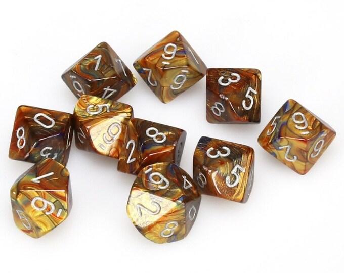 10d10 Lustrous: Gold/Silver - CHX27293 - Chessex