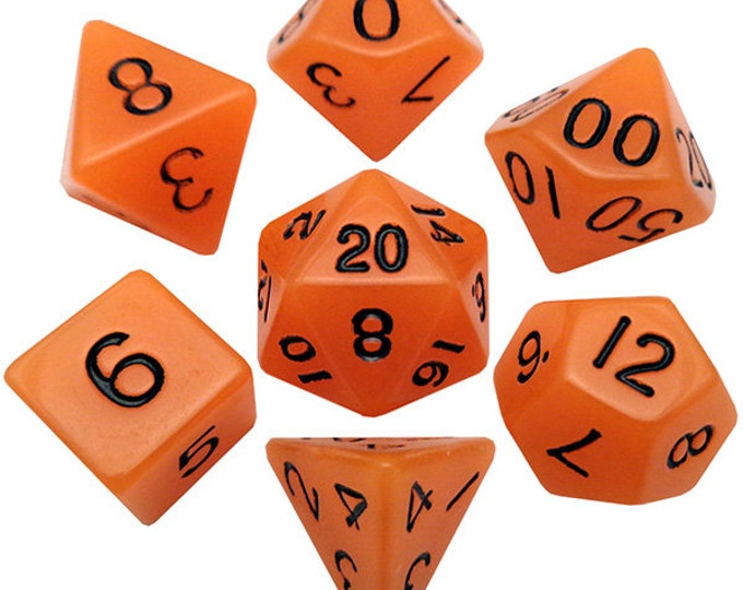 7-Die Set Glow: Orange/Black- MTD304 - Metallic Dice Games