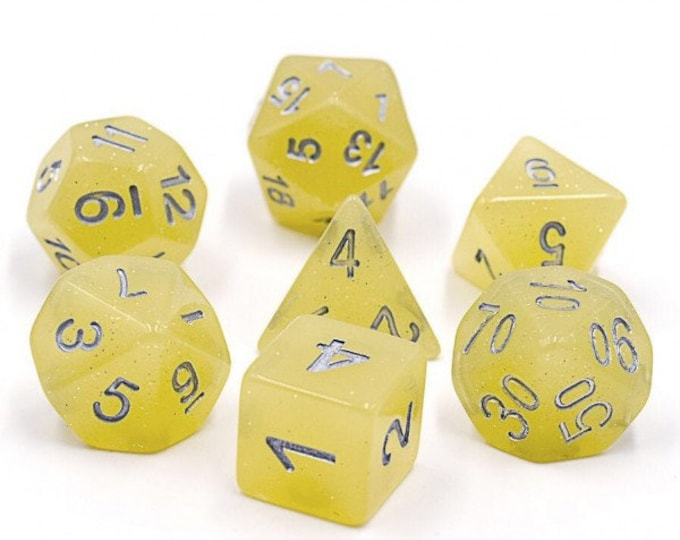 HDDice 7 Die Polyhedral Translucent Glitter Dice Set (Yellow) - Purchasing Cooperative