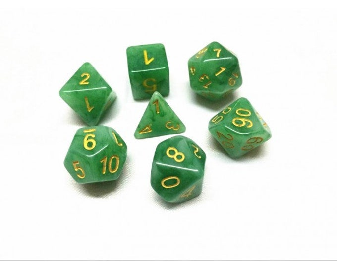 HDDice 7 Die Polyhedral Jade Dice Set (Green/Yellow) - Purchasing Cooperative