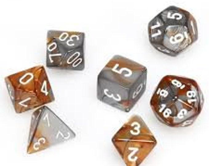 7-Die Set Gemini: Copper-Steel/White - CHX26424 - Chessex