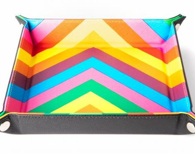 Metallic Dice Games 10''x10'' Rainbow Velvet Folding Dice Tray with Leather Backing - Purchasing Cooperative