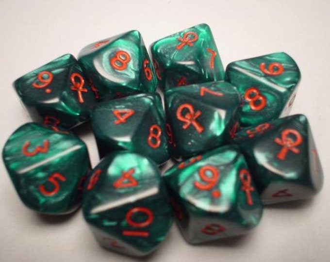 10d10 Ankh: Green Pearl/Red - CHX29005 - Chessex