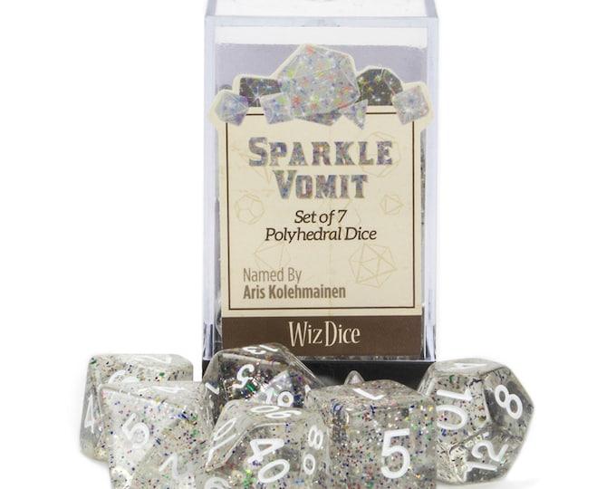 WizDice 7 Die Polyhedral Set in Velvet Pouch-Sparkle Vomit - Purchasing Cooperative