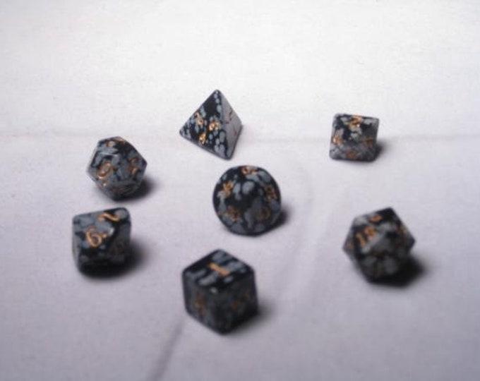 Dwarven Stone Dice - 12mm Snow Obsidian Polyhedral 7-Die Set - 02000 - Crystal Caste