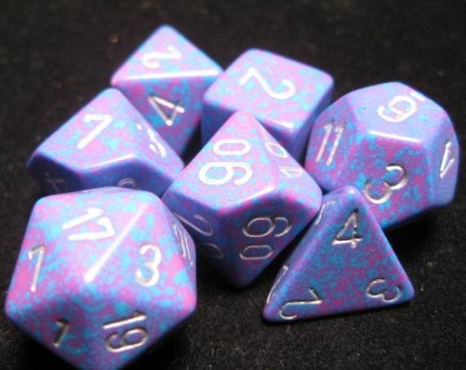 Silver Tetra Speckled Polyhedral 7-Die Set - CHX25347 - Chessex