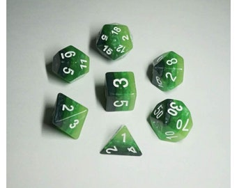 HDDice 7 Die Polyhedral Layered Dice Set (Green Gradients) - Purchasing Cooperative