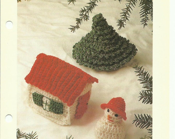 Christmas Ornaments crochet pattern download - snowman, house, and tree!