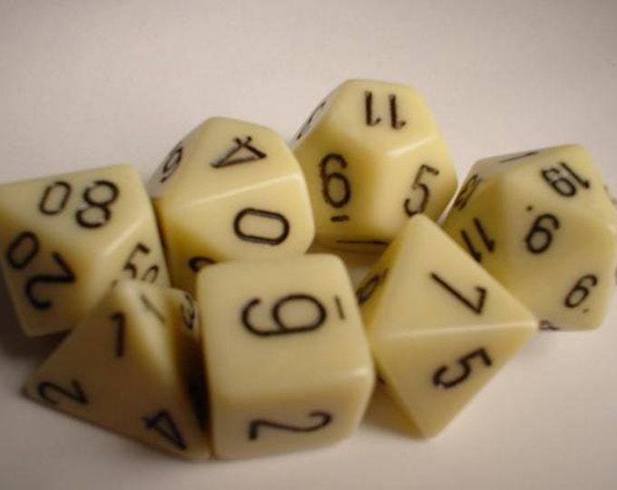 Ivory/Black Opaque Polyhedral 7-Die Set - CHX25400 - Chessex