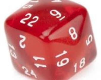 WizDice 24 Sided Translucent Red with White Numbers Polyhedral Die