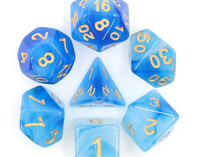 HDDice 7 Die Polyhedral Milky Dice Set (Blue) - Purchasing Cooperative