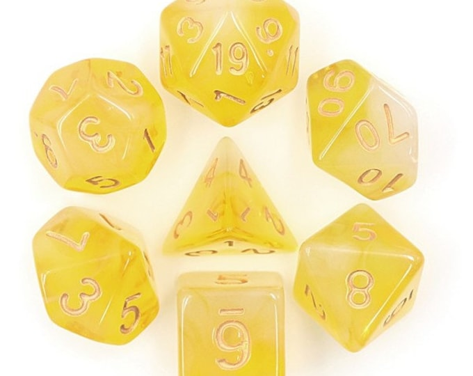 HDDice 7 Die Polyhedral Milky Dice Set (Yellow) - Purchasing Cooperative