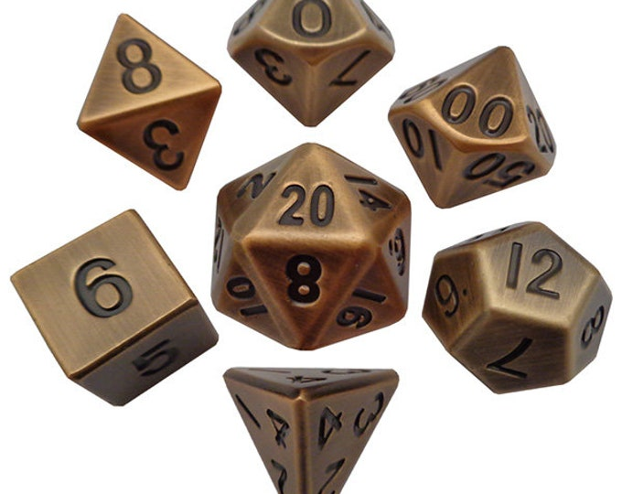 7-Die Set Metal: Antique Gold - MTD005 - Metallic Dice Games