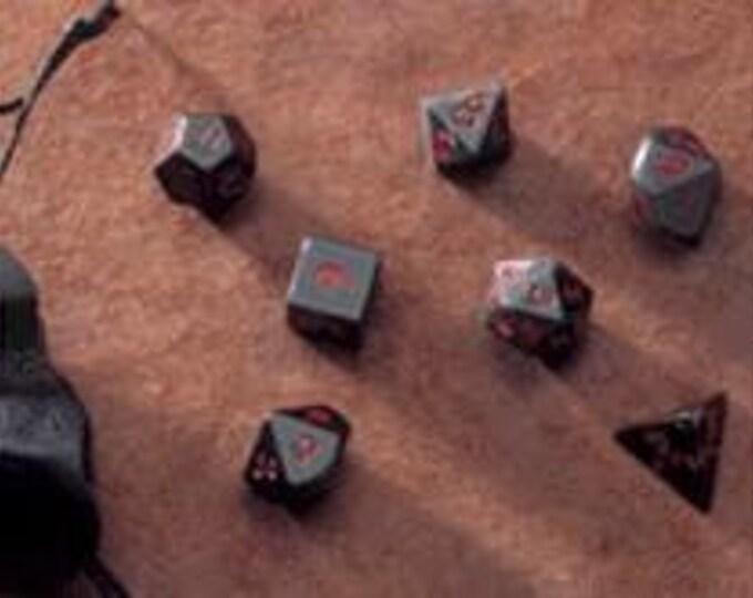 Dwarven Stone Dice - 14mm Obsidian Polyhedral 7-Die Set - 02050 - Crystal Caste