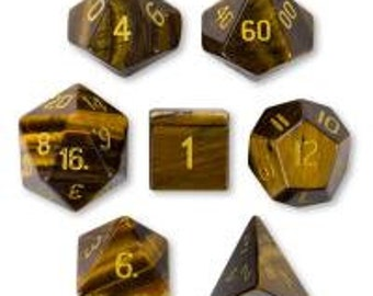 WizDice Set of 7 Handmade Stone Polyhedral Dice (Tiger's Eye)