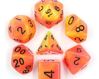 HDDice 7 Die Polyhedral Glow in the Dark Dice Set (Red+Yellow/Black) - Purchasing Cooperative