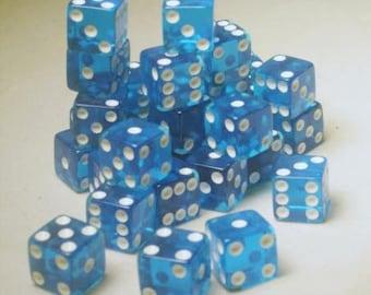 Square Cornered Dice: Blue/White Translucent 12mm d6 (36)