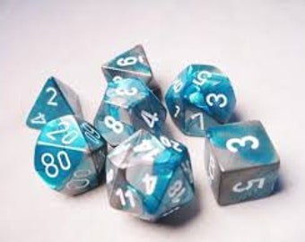 7-Die Set Gemini: Steel-Teal/White - CHX26456 - Chessex
