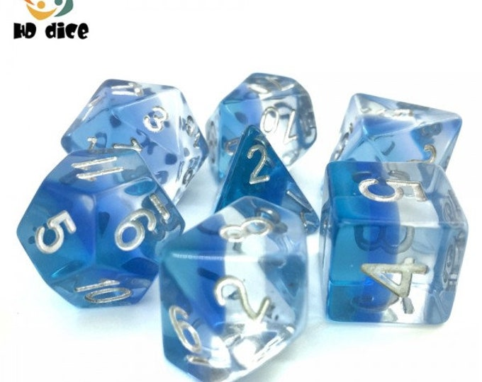 HDDice 7 Die Polyhedral Layered Dice Set (Translucent Blue Gradients) - Purchasing Cooperative