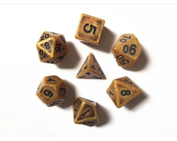 HDDice 7 Die Polyhedral Ancient Dice Set (Gold) - Purchasing Cooperative