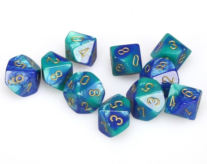10d10 Gemini: Blue-White/Red - CHX26257 - Chessex