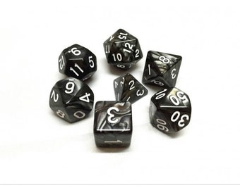 HDDice 7 Die Polyhedral Pearled Dice Set (Black/White) - Purchasing Cooperative