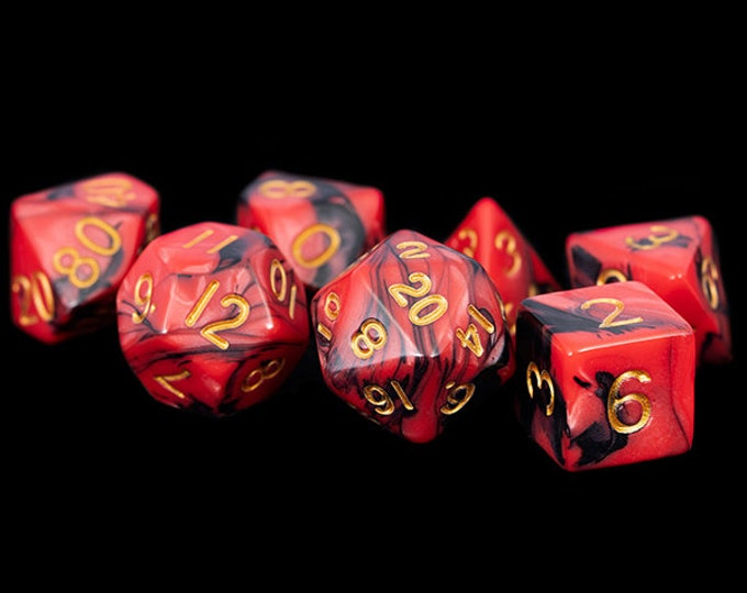 7-Die Set Combo: 16mm Pink-Black/Gold - MTD173 - Metallic Dice Games
