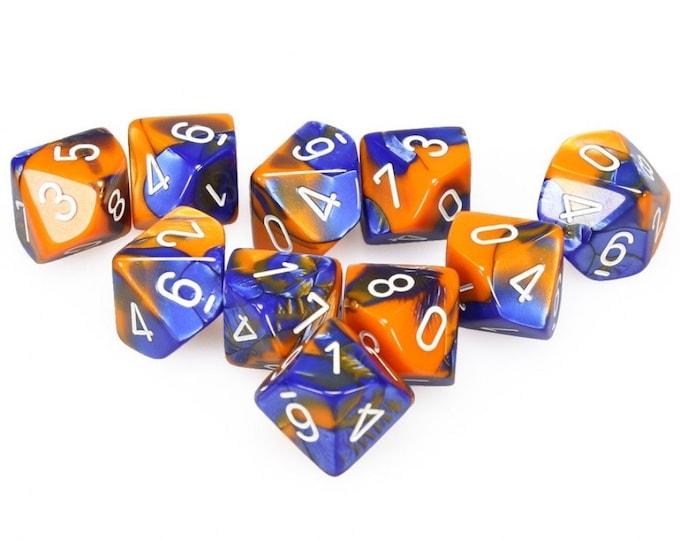 10d10 Gemini: Blue-Orange/White - CHX26252 - Chessex
