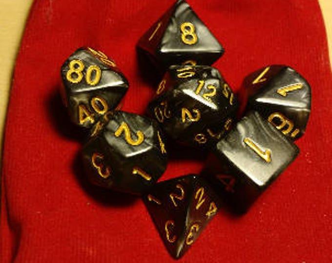 Obsidian Gold - 7 Die Polyhedral Set