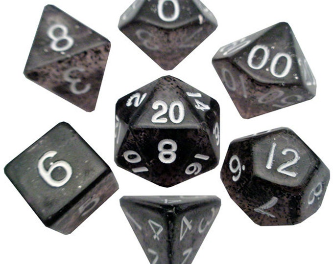 7-Die Set Ethereal: Black/White - MTD203 - Metallic Dice Games