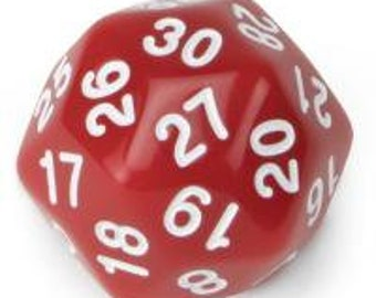 WizDice 30 Sided Translucent Red with White Numbers Polyhedral Dice