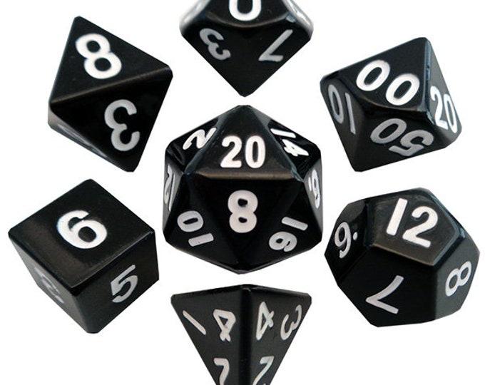 7-Die Set Metal: Black - MTD004 - Metallic Dice Games
