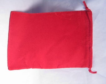 Dice Bags: Velour Pouch Bag - Large Red (5in x 7in)