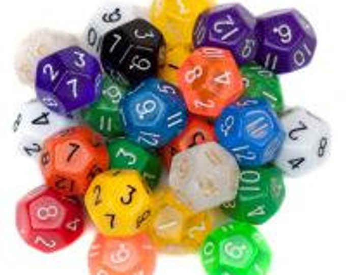 WizDice 25 Pack of Random D12 Polyhedral Dice in Multiple Colors