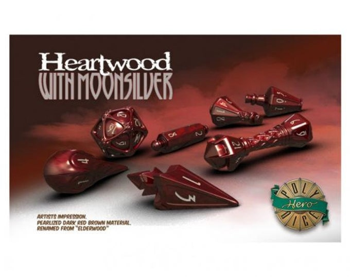 Wizardstone Heartwood with Moon Silver Dice Set (7) - 2100 - PolyHero Dice
