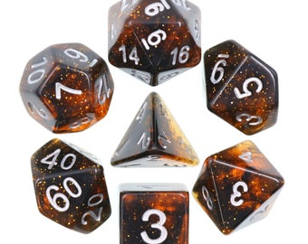HDDice 7 Die Polyhedral Glitter Dice Set (Orange) - Purchasing Cooperative